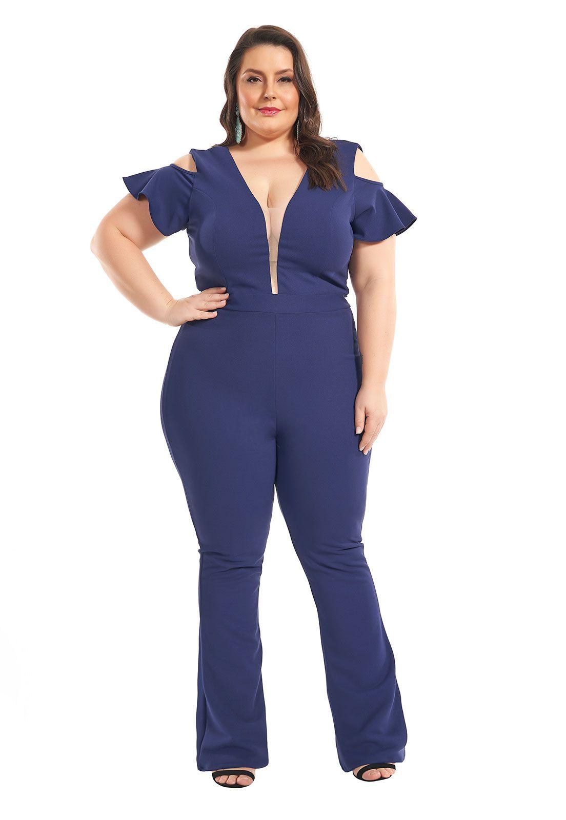 Macacão Plus Size Azul Marinho Lala Dubi