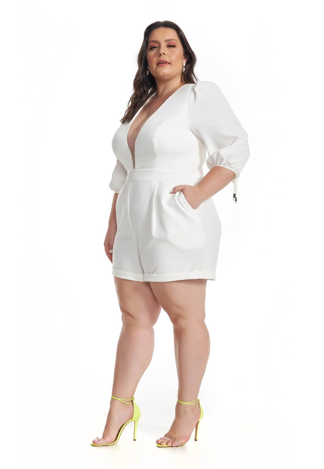 Macaquinho Alfaiataria Plus Size Branco