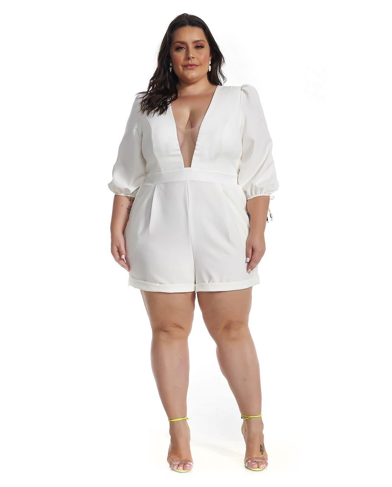 Macaquinho Alfaiataria Plus Size Branco Lala Dubi