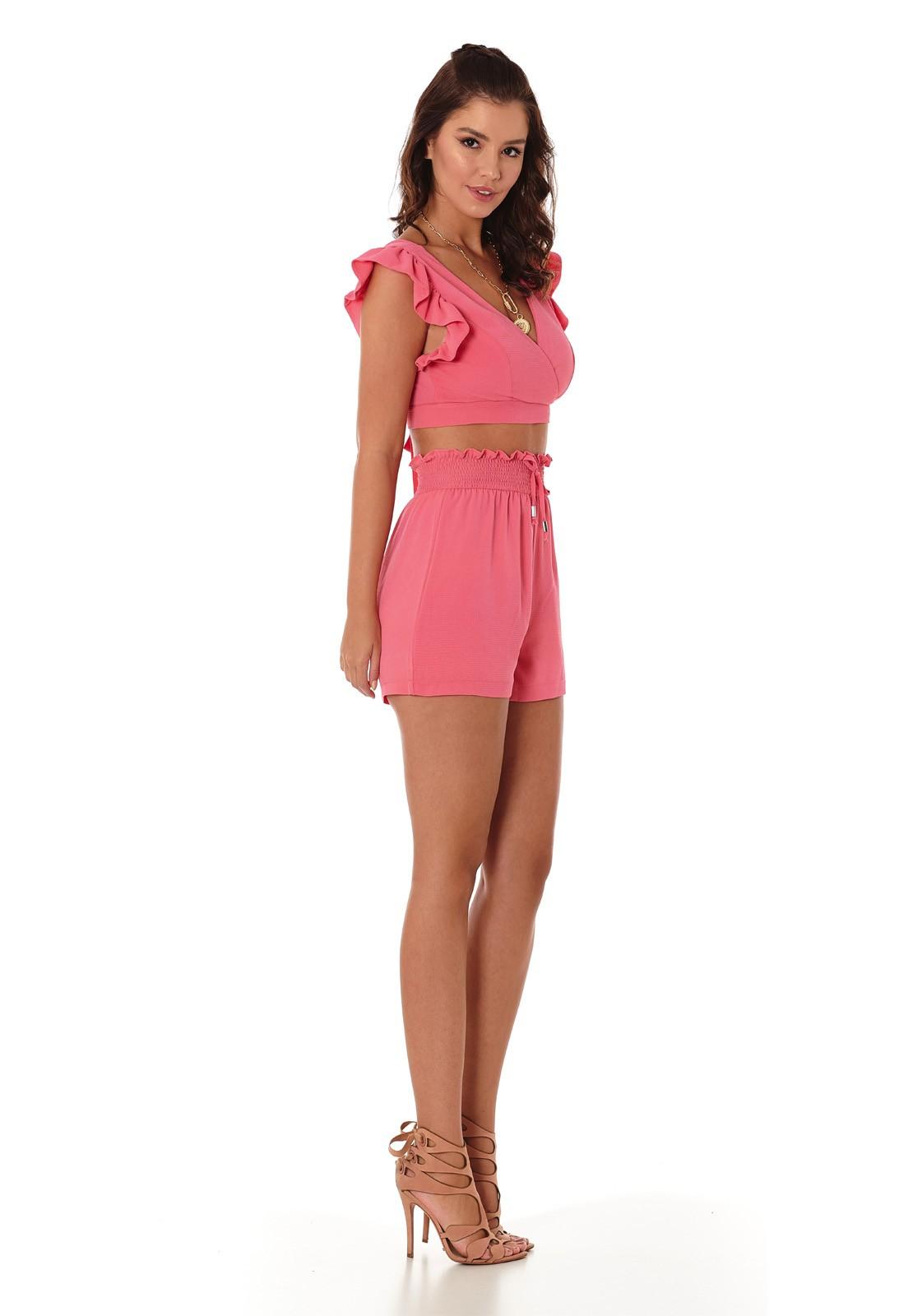 Short Lastex Rosa Flamingo
