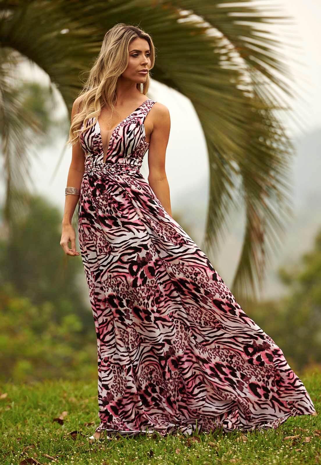 Vestido Animal Print Zebra Rosa