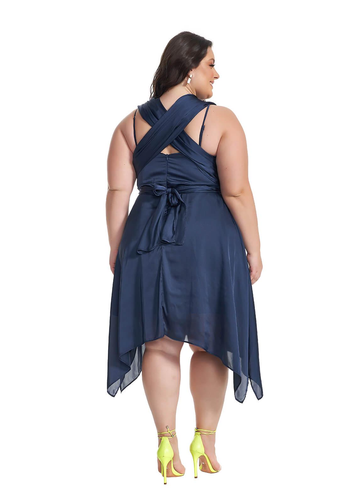Vestido Assimétrico Mil Formas Plus Size Marinho