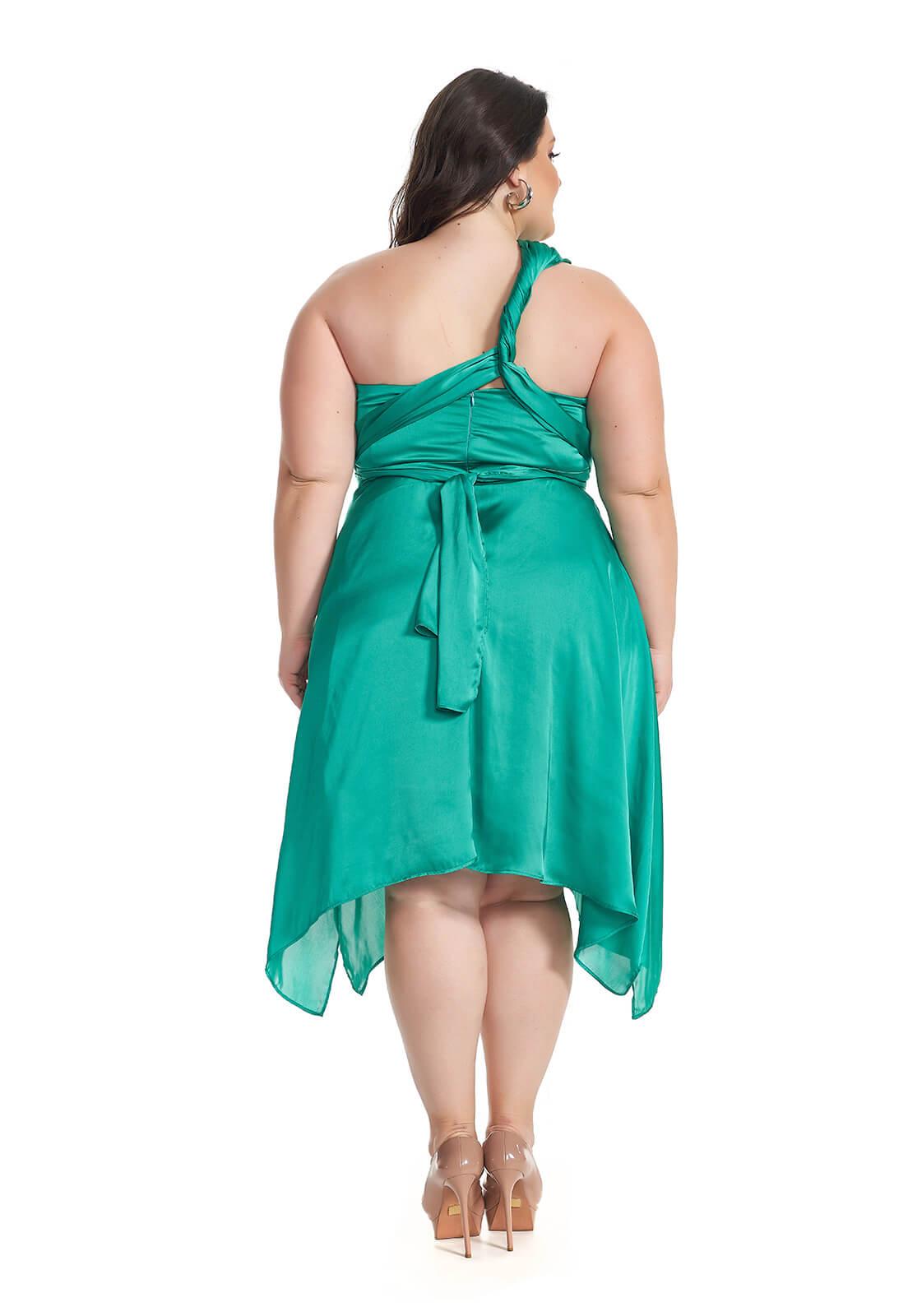 Vestido Assimétrico Mil Formas Plus Size Verde