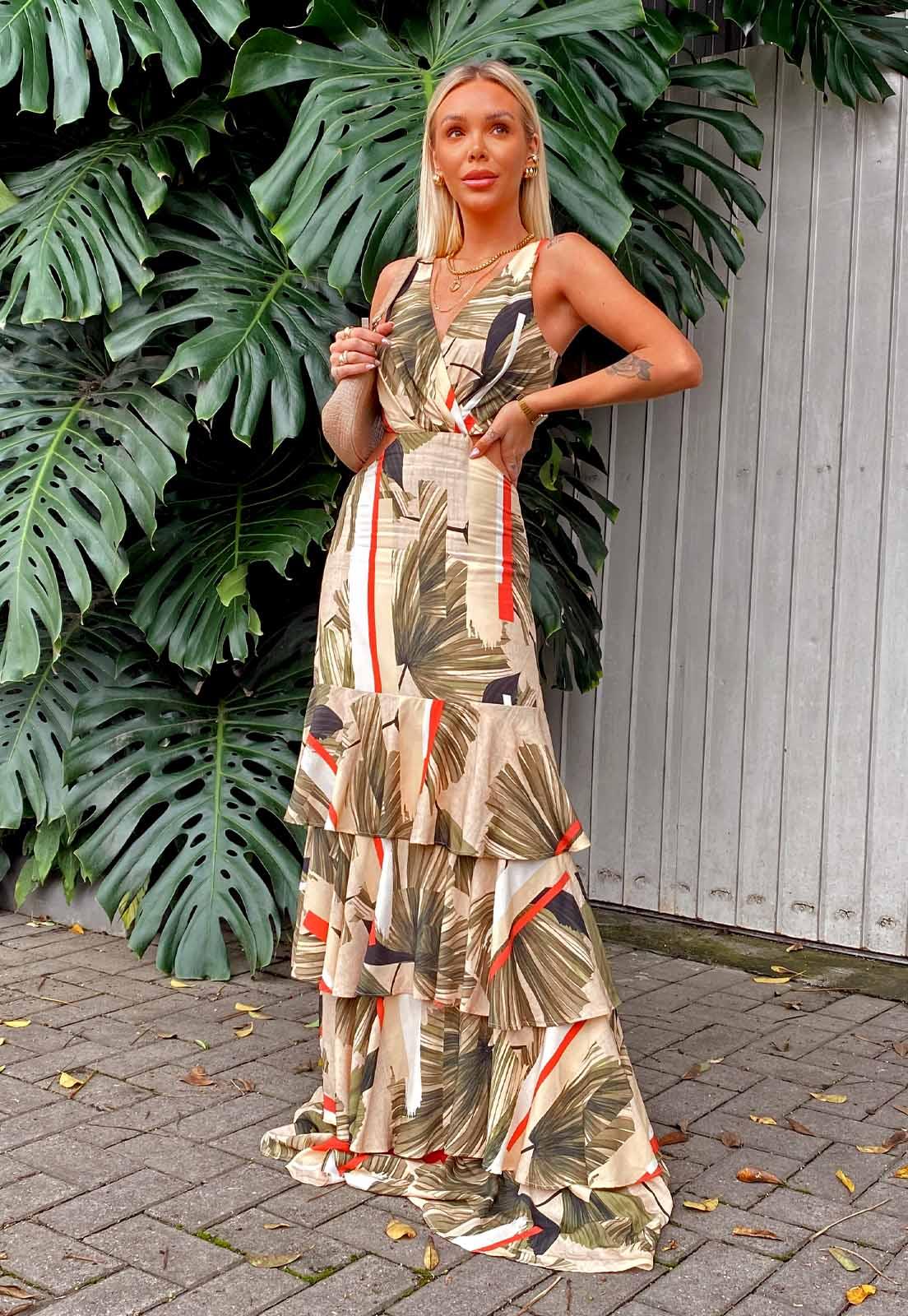 Vestido Camadas Estampado Palmeira