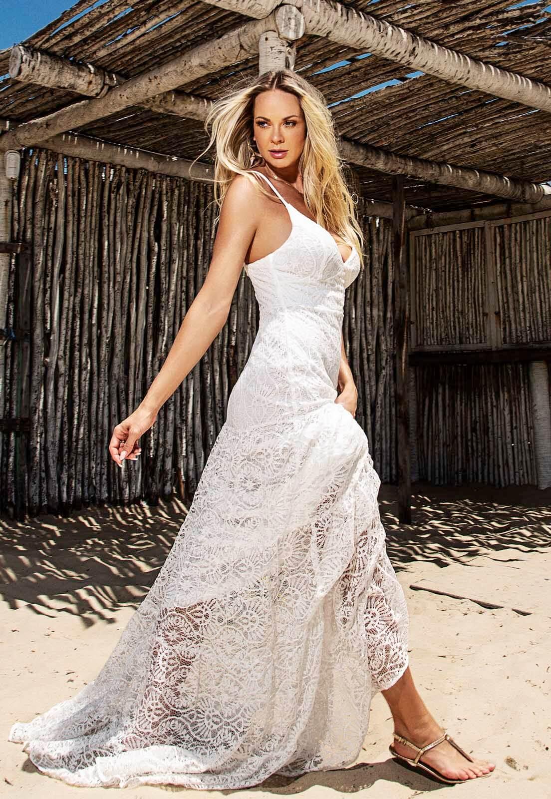Vestido Camadas Renda Off White