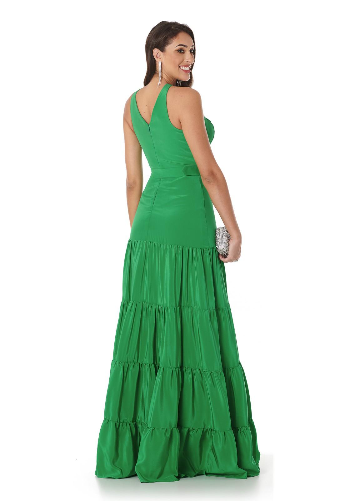 Vestido Longo Camadas Verde Emerald Lala Dubi