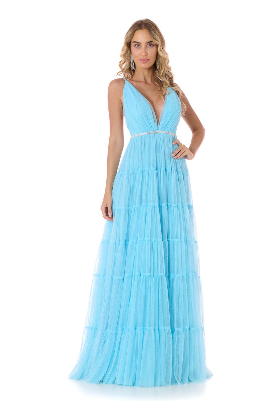 Vestido Camadas Tule Glitter Azul