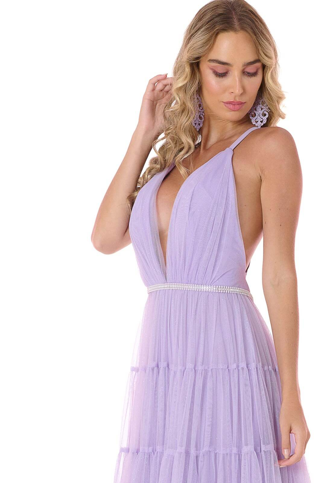 Vestido Camadas Tule Glitter Lilás