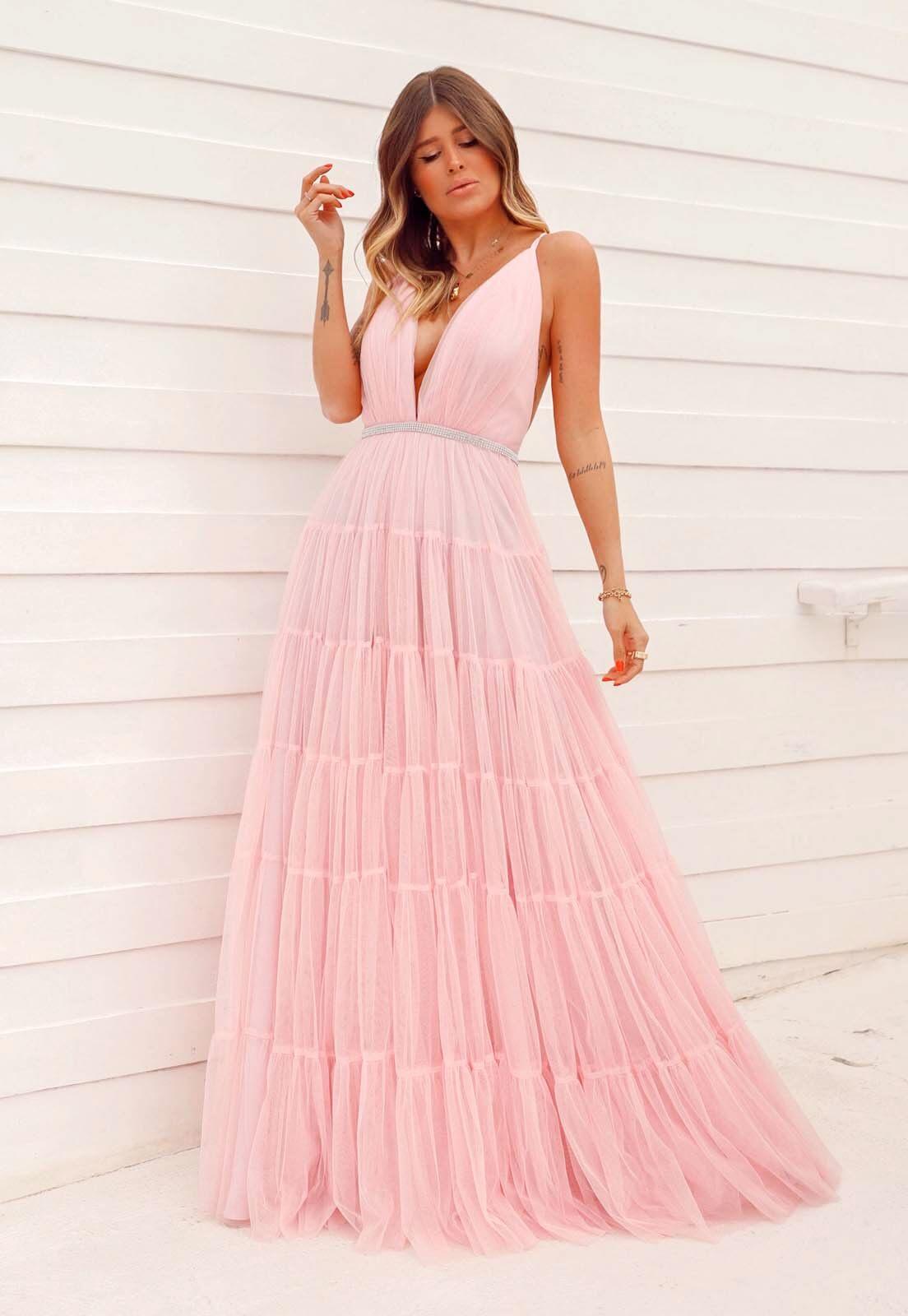 Vestido Camadas Tule Glitter Rosa Claro