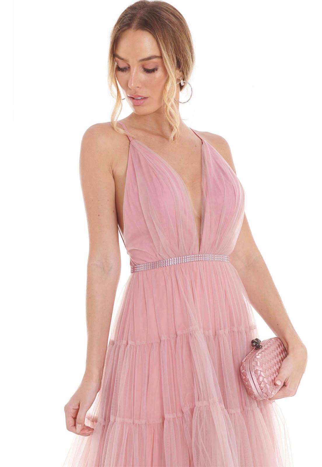 Vestido Camadas Tule Old Rosê