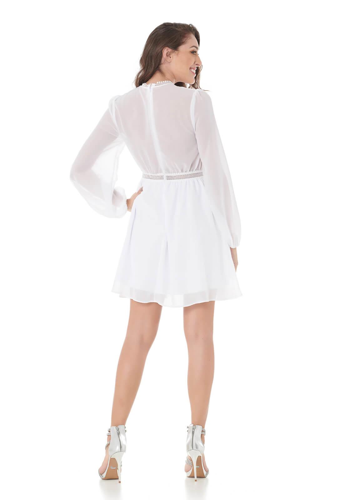 Vestido Com Detalhes Guipir Branco