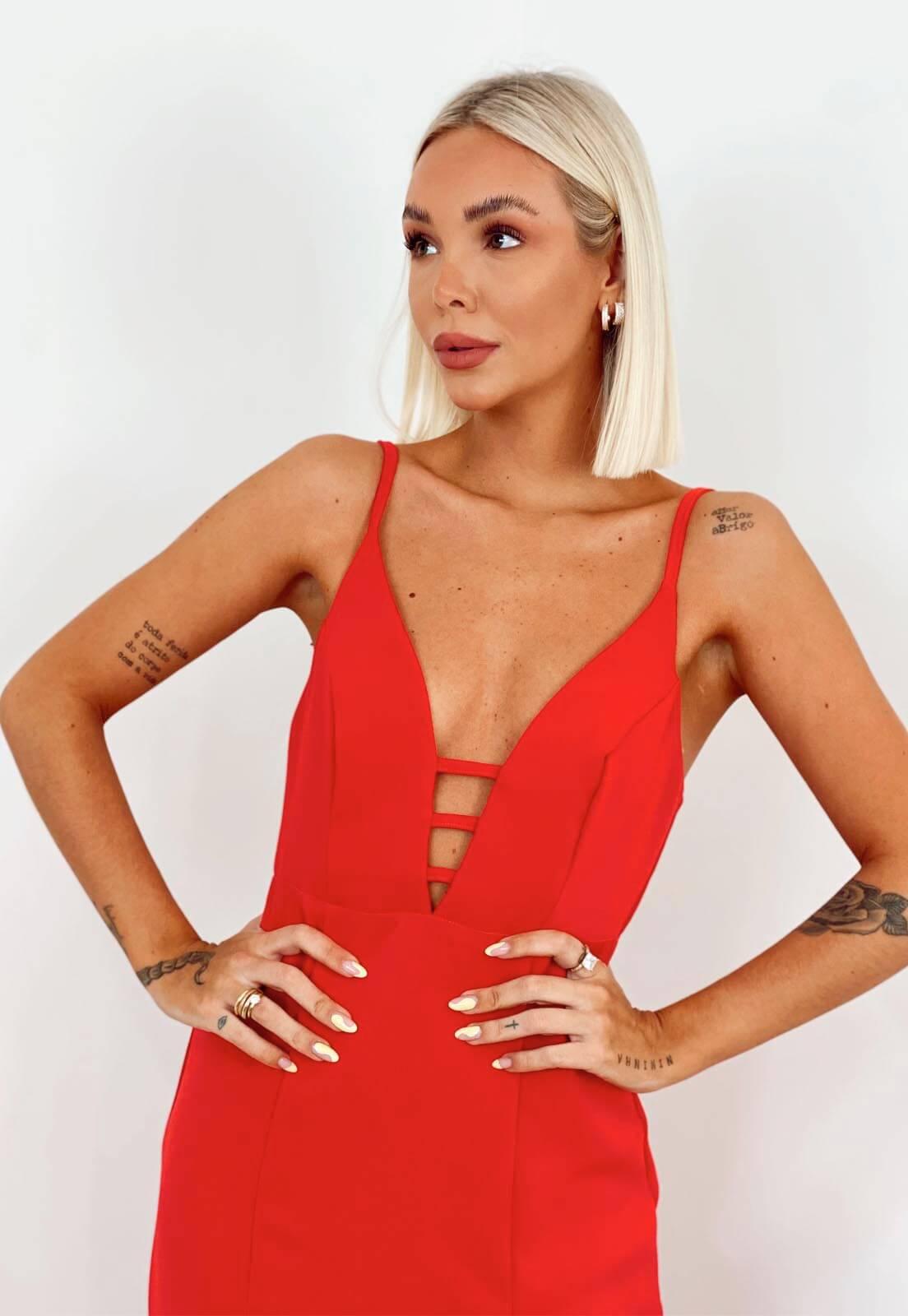 Vestido Com Fenda Vermelho
