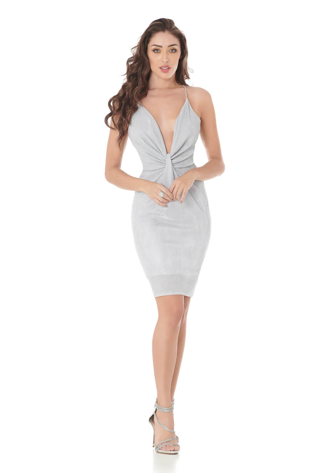 Vestido Com Nó Prata