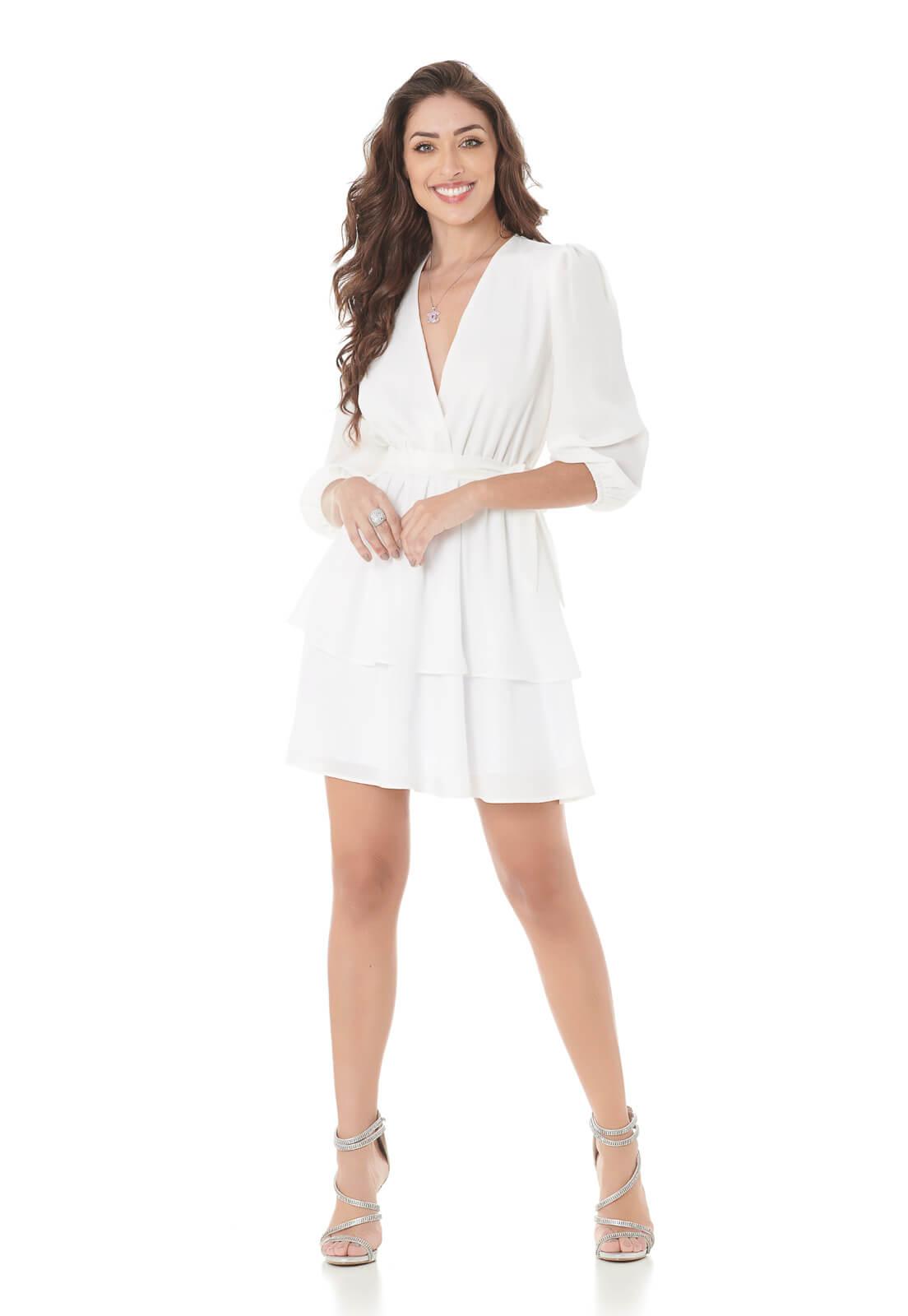 Vestido Curto Camadas Branco