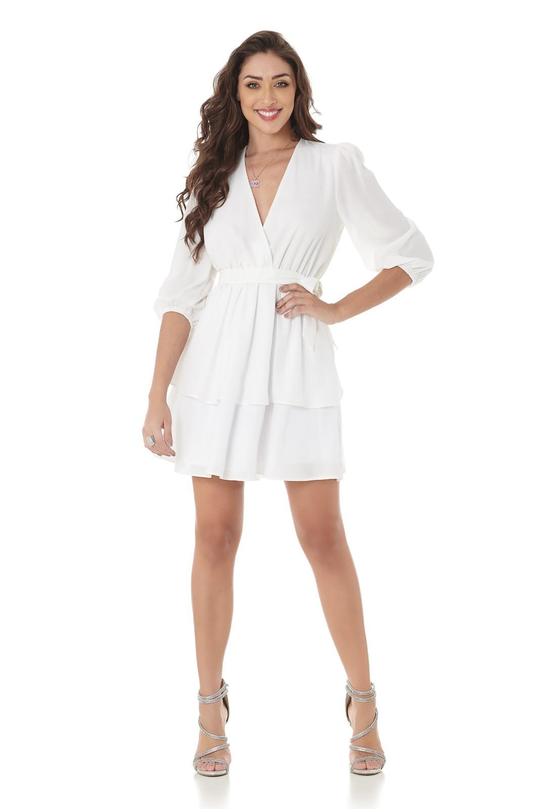 Vestido Curto Camadas Branco Lala Dubi