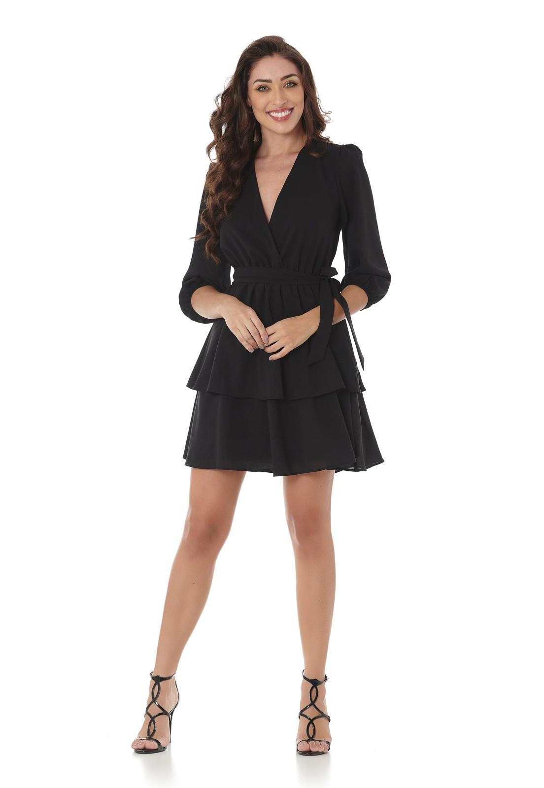 Vestido Curto Camadas Preto Lala Dubi