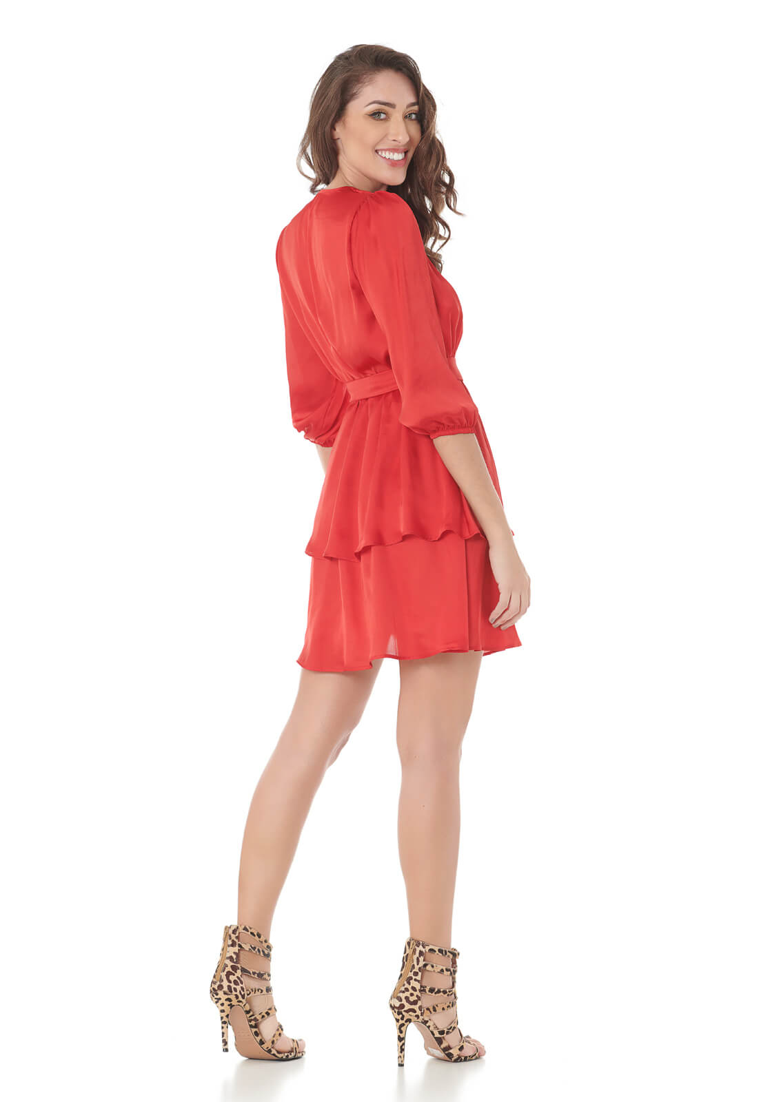 Vestido Curto Camadas Vermelho