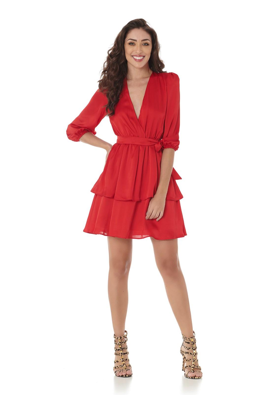 Vestido Curto Camadas Vermelho Lala Dubi