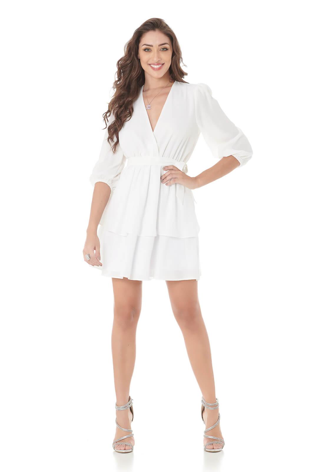 Vestido Curto Chiffon Camadas Branco