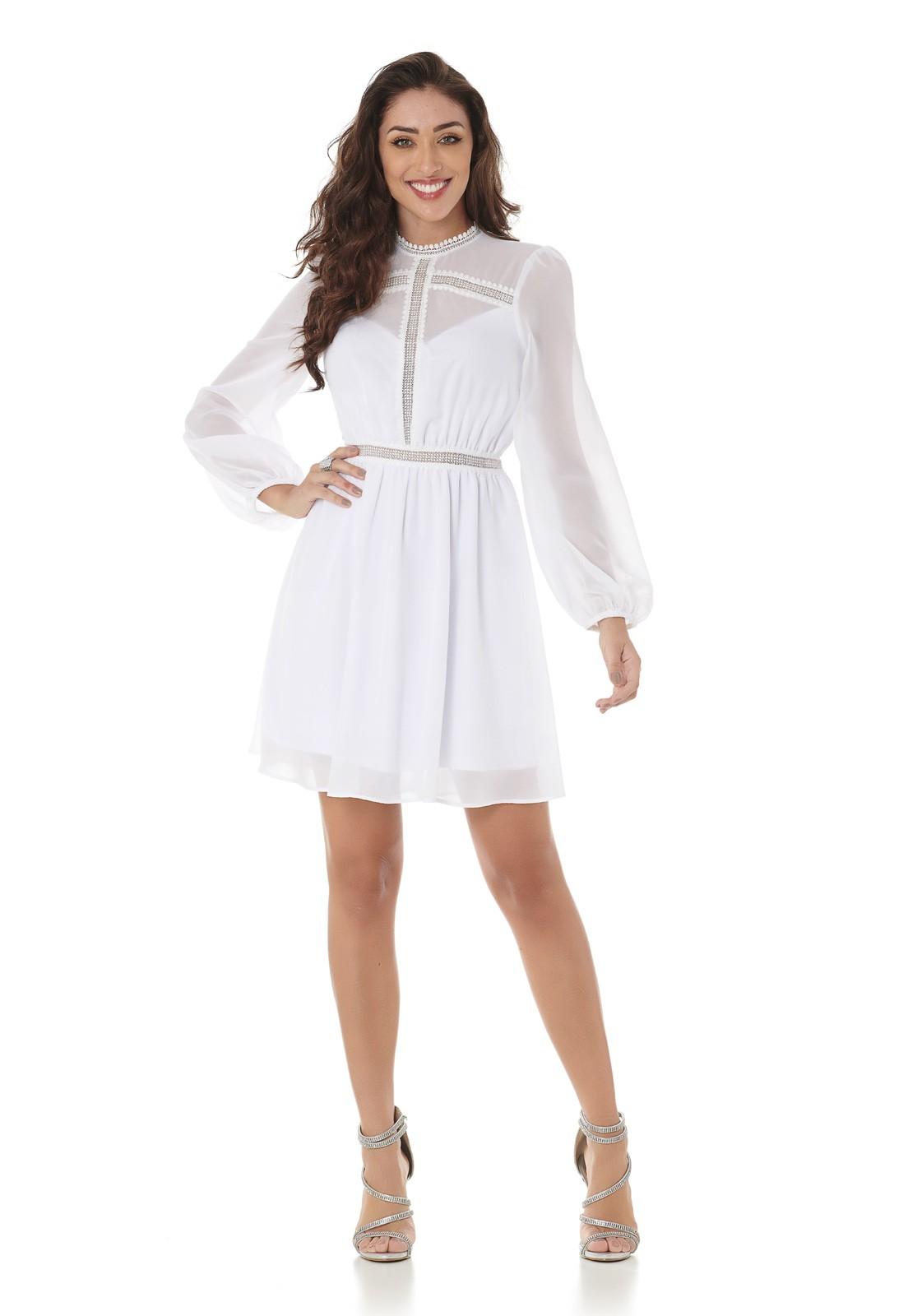 Vestido Curto Com Detalhes Guipir Branco Lala Dubi