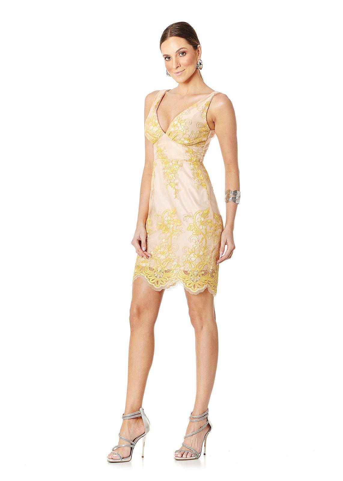 Vestido Curto Flores Amarelas Lala Dubi