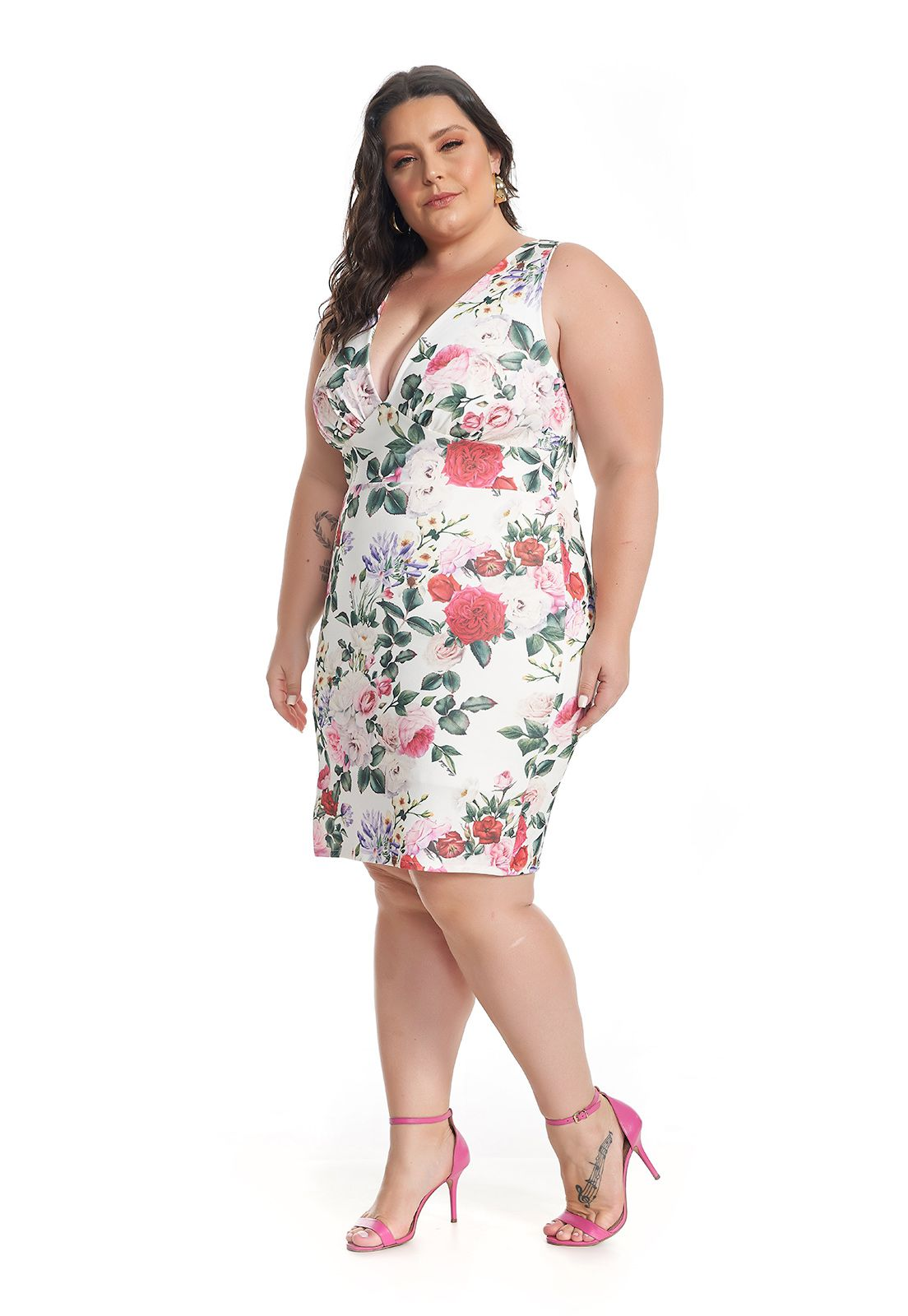 Vestido Curto Plus Size Floral Lala Dubi