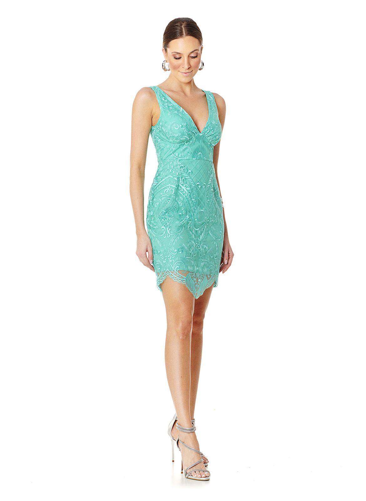 Vestido Curto Tule Azul Tiffany Lala Dubi