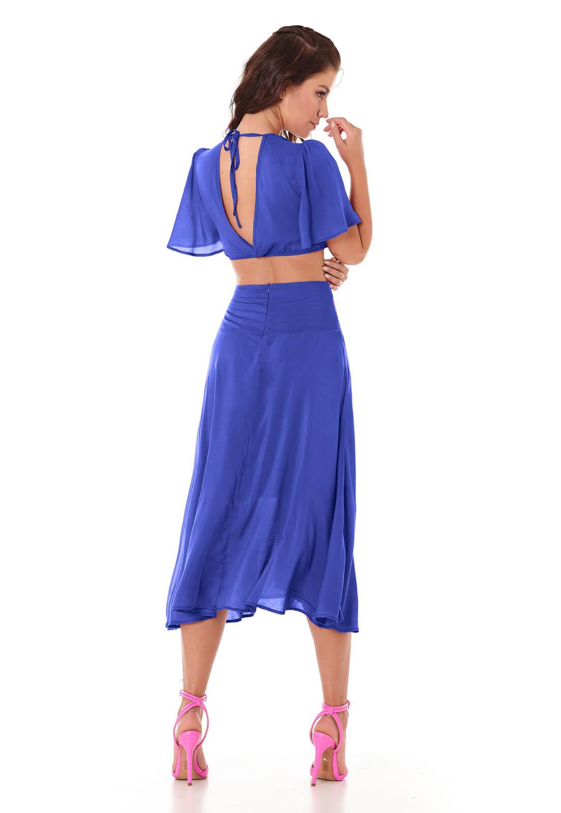 Vestido De Botões Azul Bic