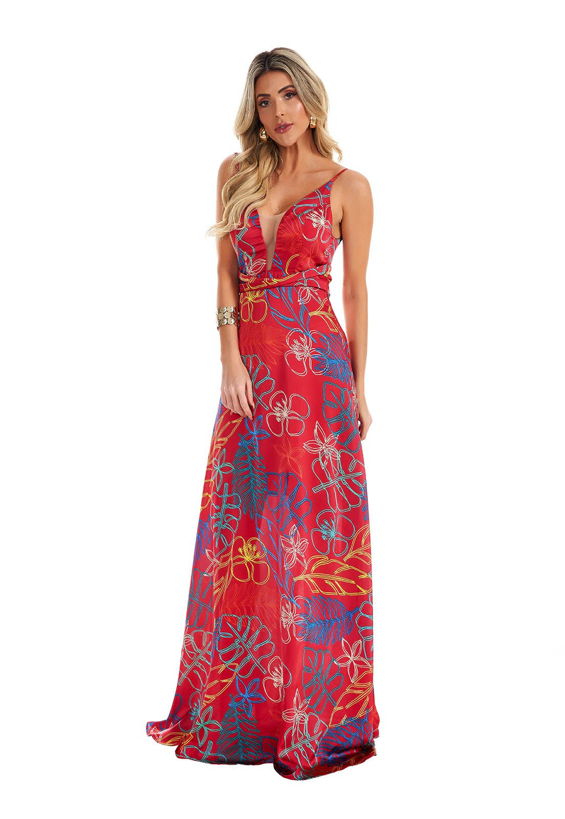Vestido Evasê Floral Vermelho Lala Dubi