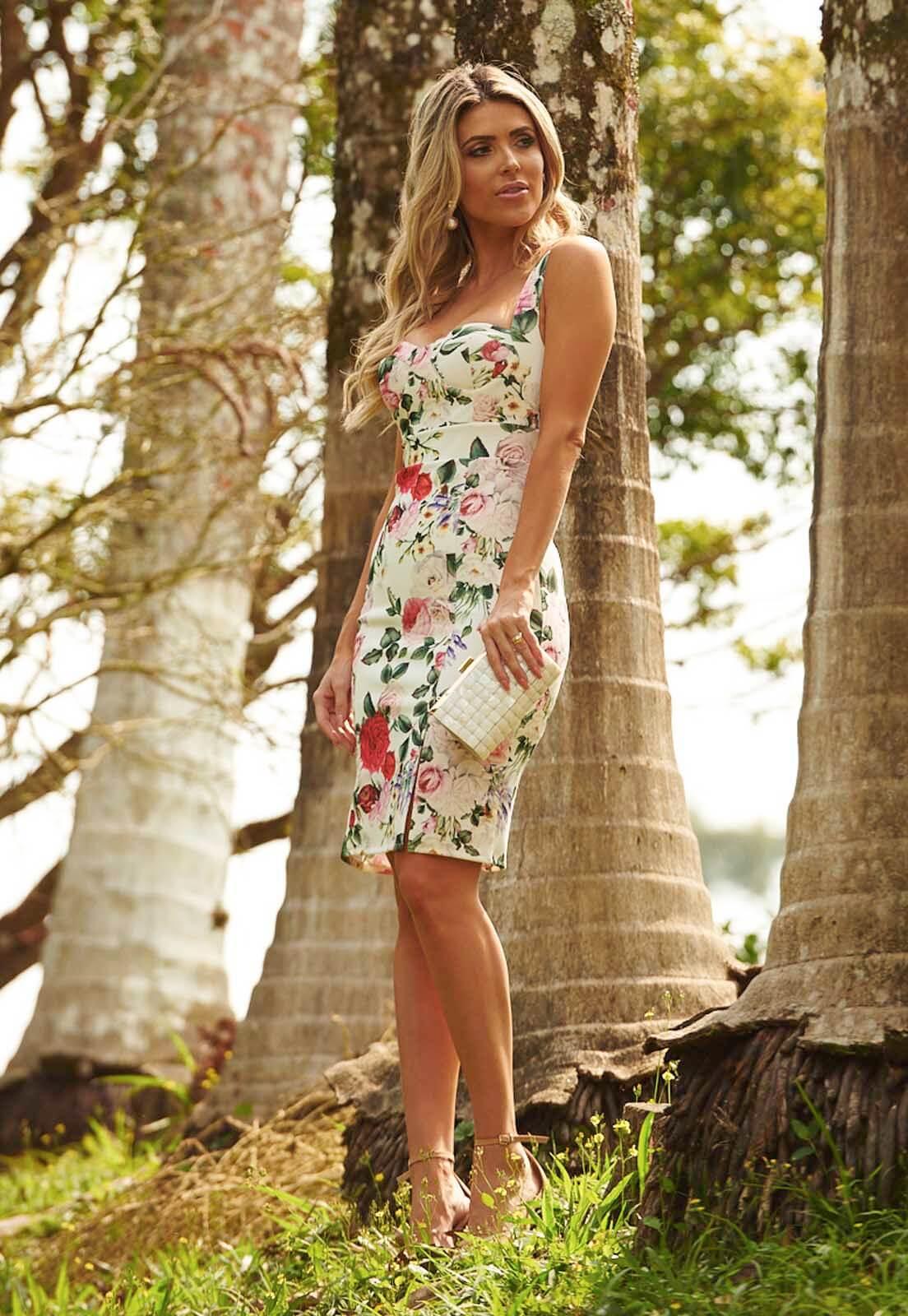 Vestido Floral Com Fenda