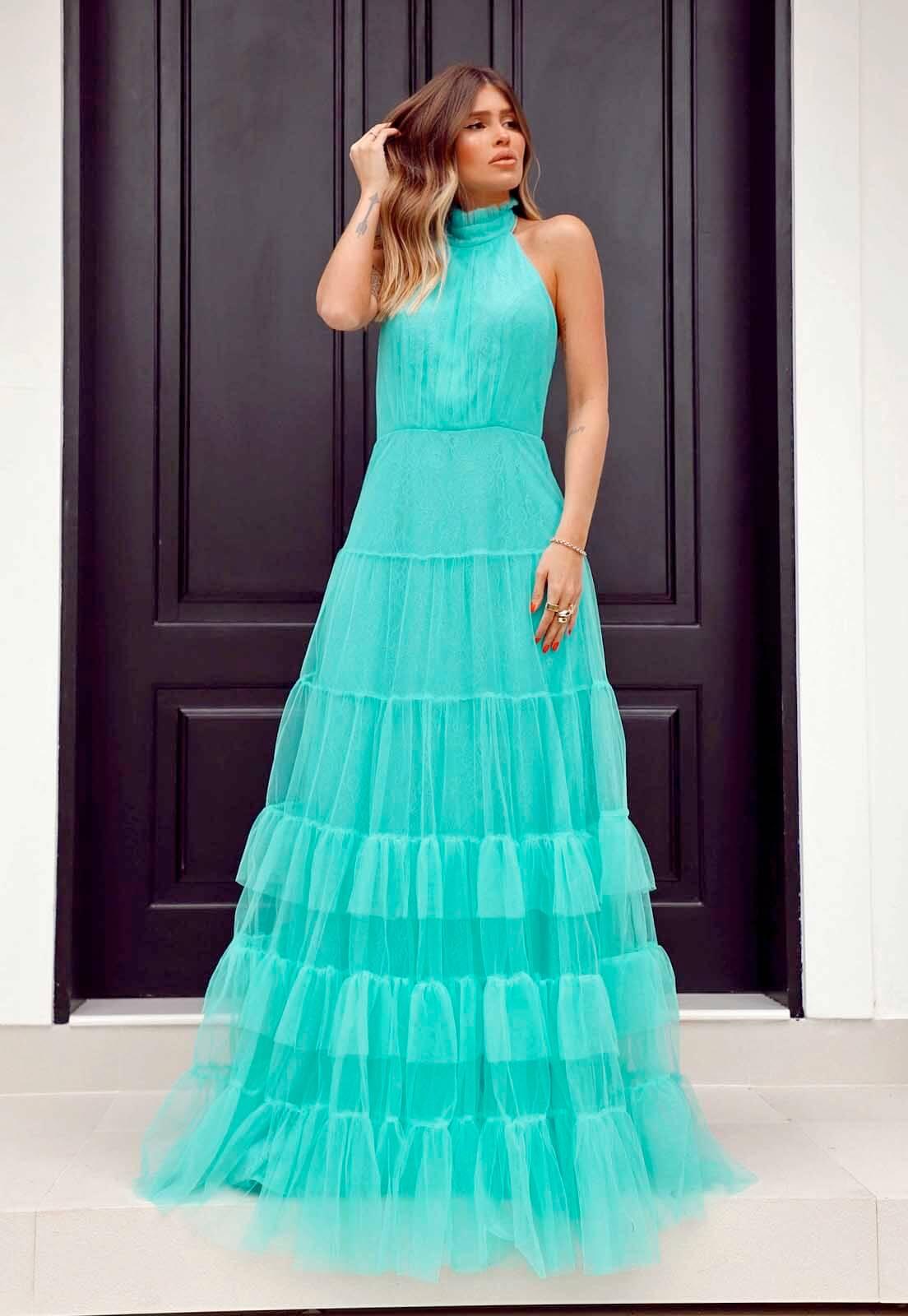 Vestido Gola Alta Tule Azul Tiffany