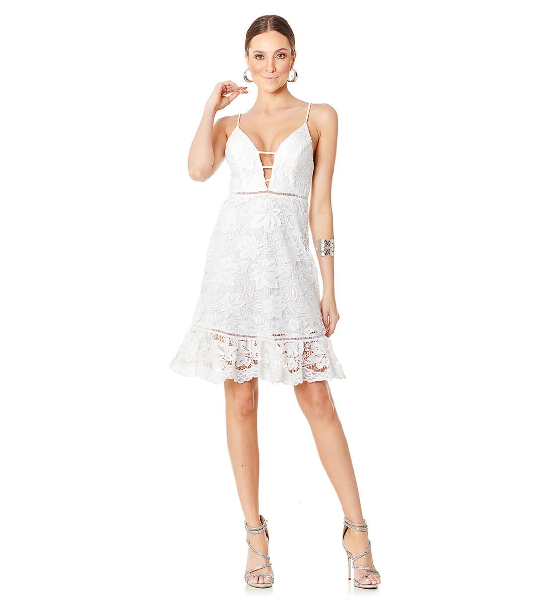 Vestido Guipir Ondas Branco