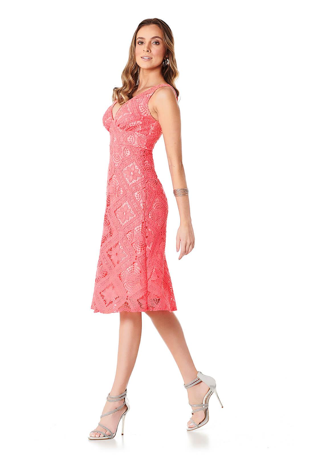 Vestido Guipir Quadriculado Coral