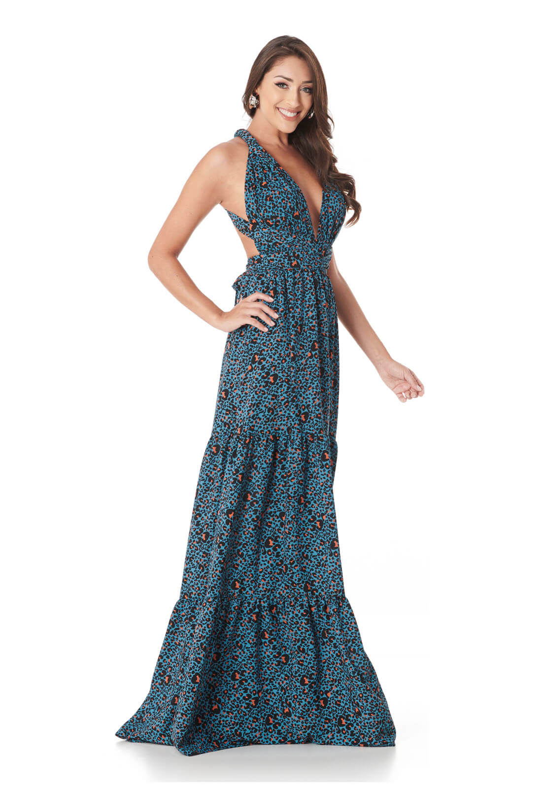 Vestido Infinity Onça Azul com Laranja Lala Dubi
