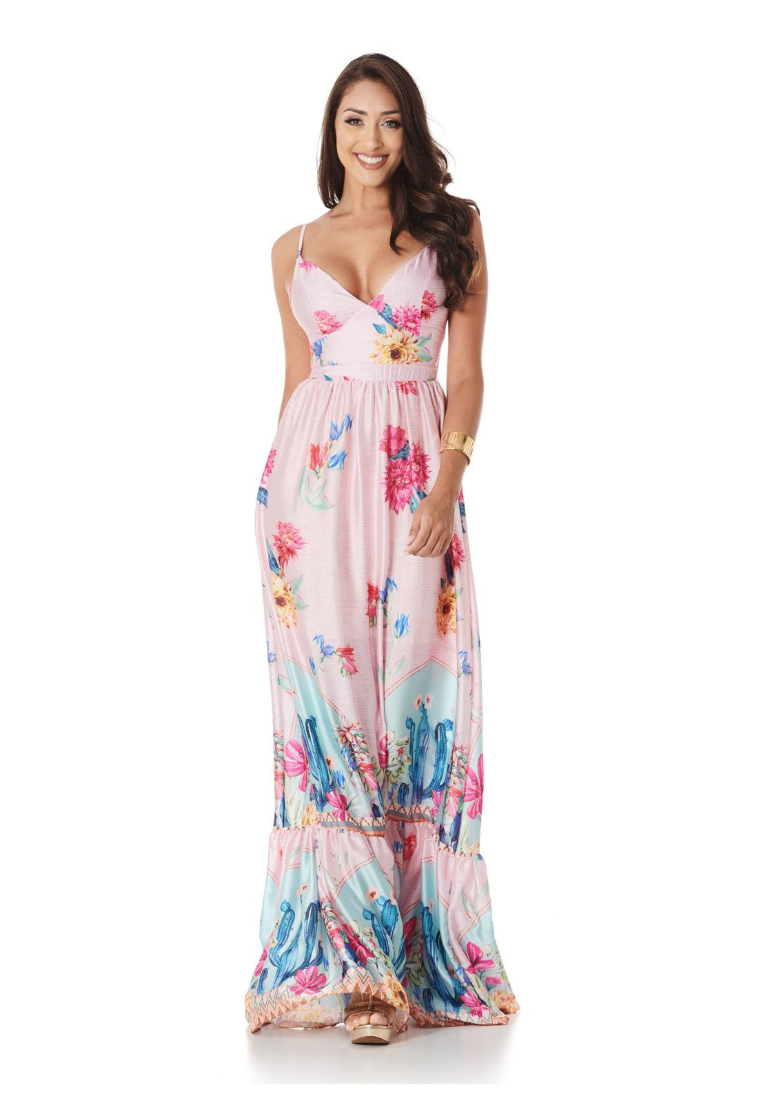 Vestido Longo Rosa Cactus Lala Dubi