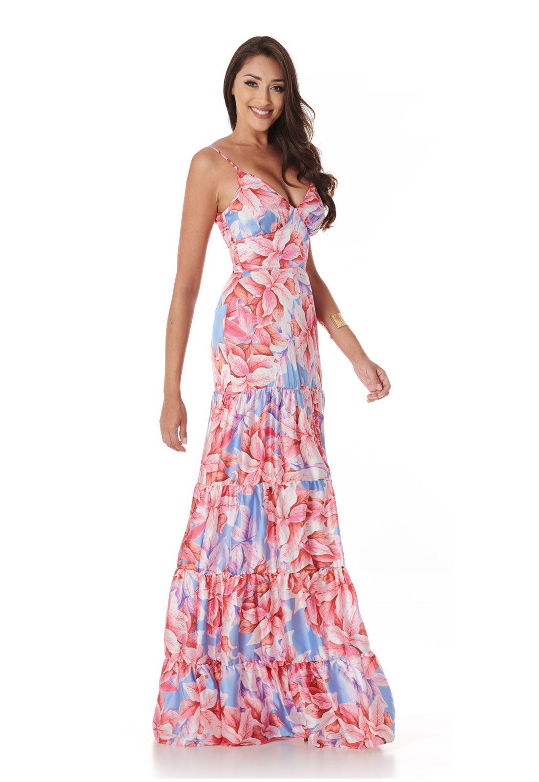 Vestido Longo Camadas Folhagem Rosa Lala Dubi