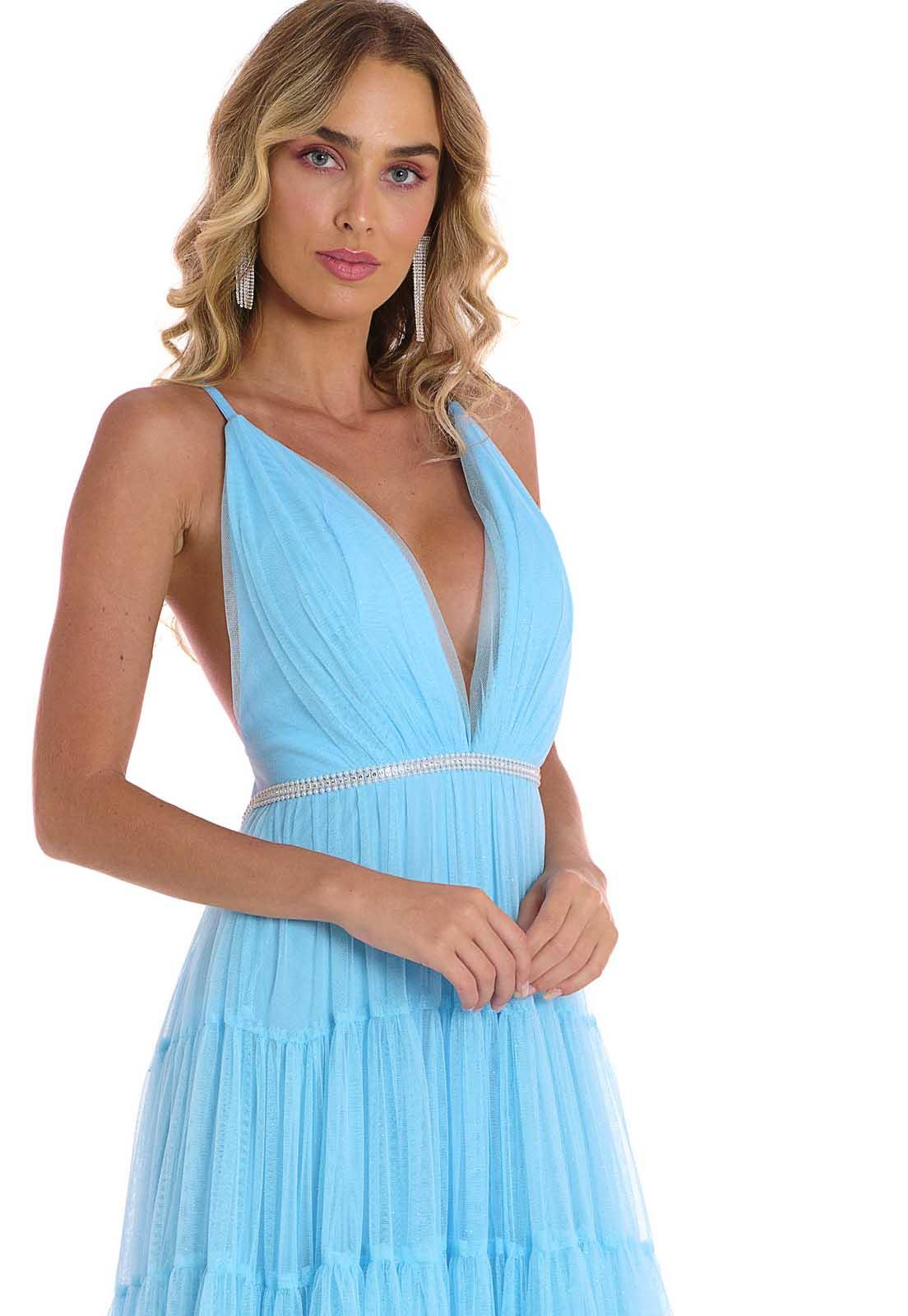 Vestido Longo Camadas Tule Glitter Azul Lala Dubi