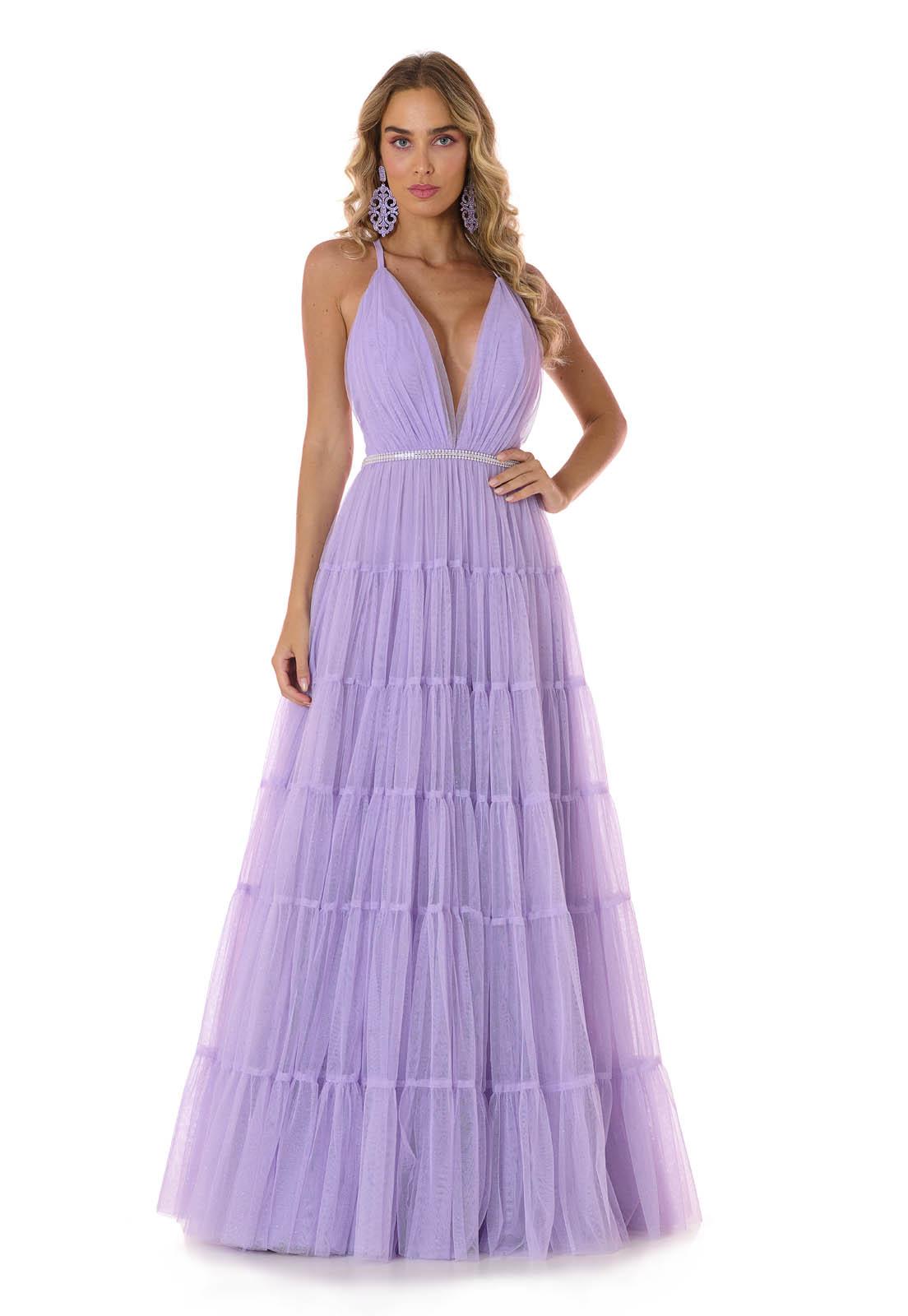 Vestido Longo Camadas Tule Glitter Lilás Lala Dubi