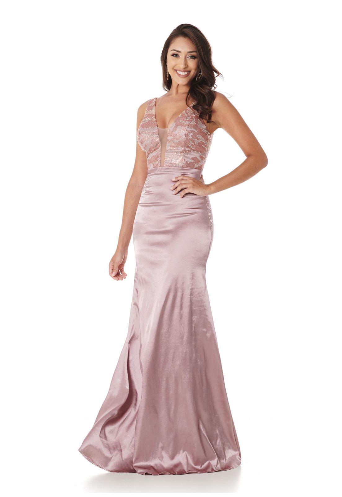 Vestido Longo Sereia Tule Paetê Rose Lala Dubi