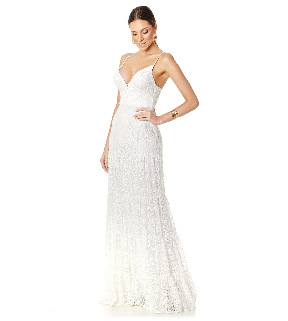 Vestido Longo Camadas Renda Off White Lala Dubi