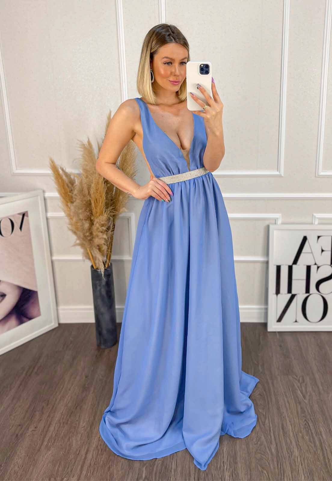 Vestido Longo Evasê Azul Serenity