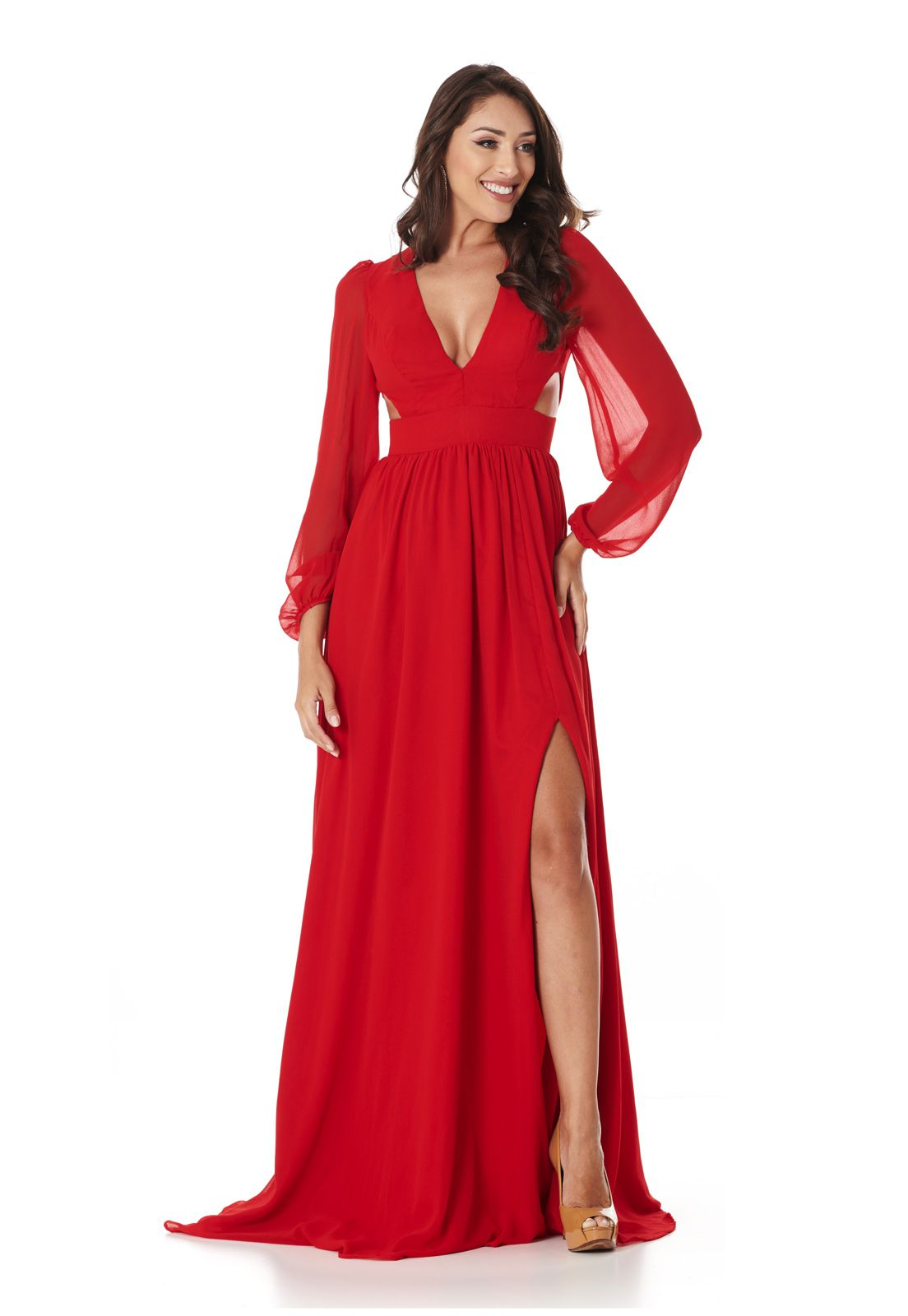 Vestido Longo Manga Longa Vermelho Lala Dubi