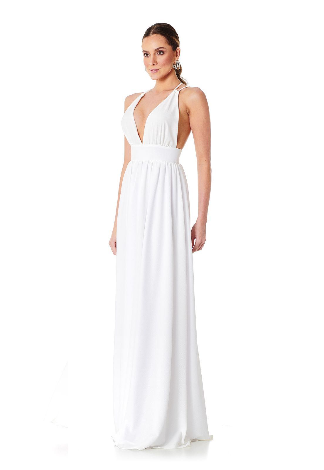 Vestido Longo Costas Cruzadas Branco Lala Dubi