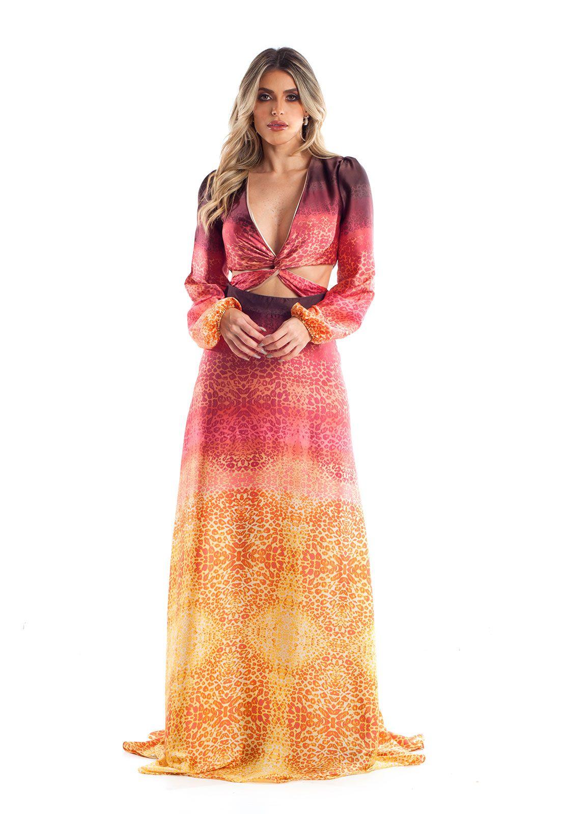 Vestido Longo Degradê Onça Lala Dubi