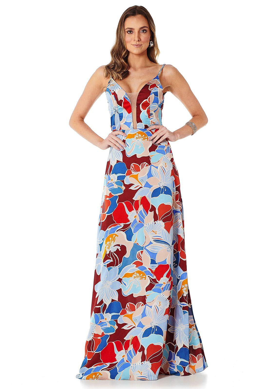 Vestido Longo Floral Marsala Lala Dubi