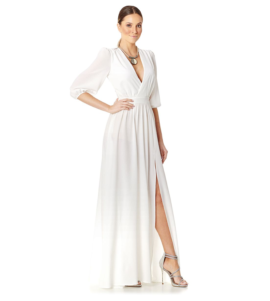 Vestido Longo Manga 3/4 Branco Lala Dubi