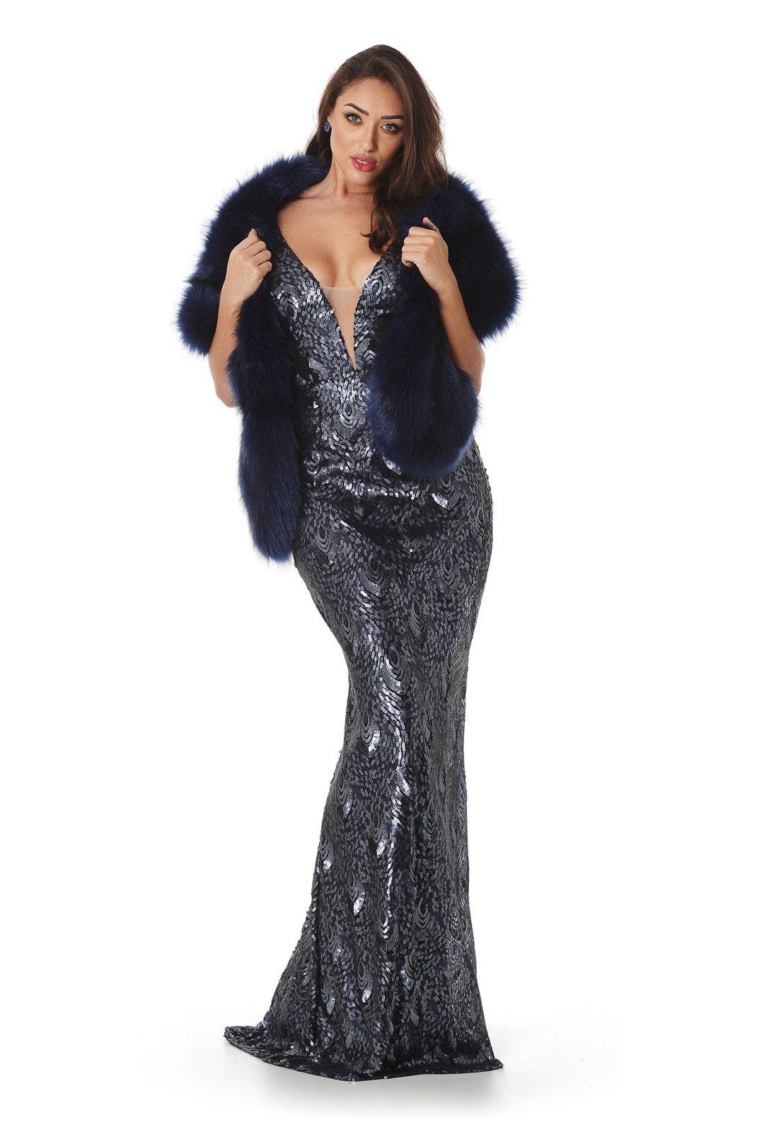 Vestido Longo Sereia Paetê Peacock Lala Dubi