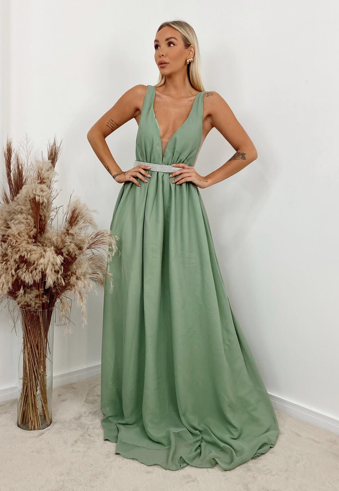 Vestido Longo Evasê Verde Erva Doce