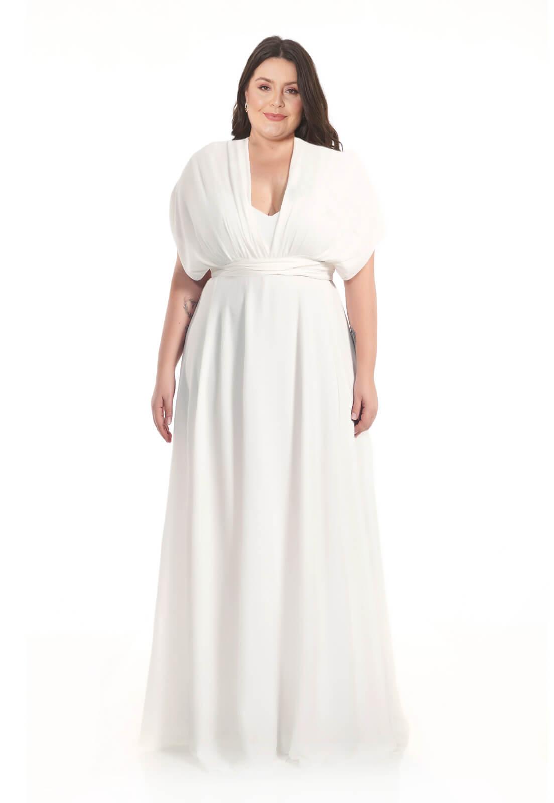 Vestido longo Infinity Plus Size Branco Lala Dubi