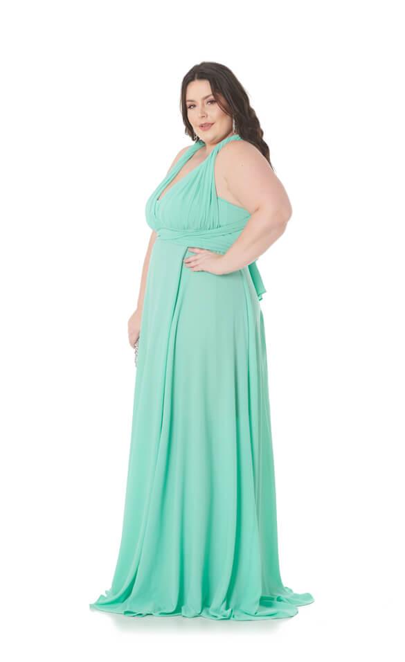 Vestido Longo Infinity Plus Size Verde Macarron Lala Dubi